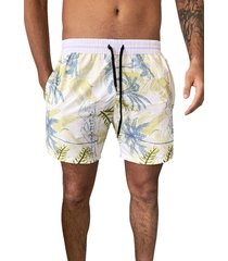 shorts intermediário ks microfibra estampado c/ bolsos laterais 397.13 branco