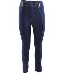 double zip skinny jeans in dark denim
