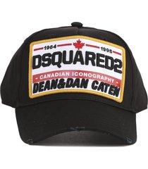 dsquared2 black cotton dsq2 hat