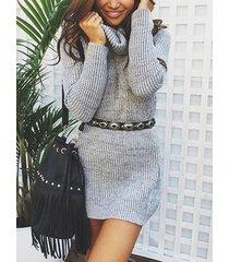 jersey de cuello alto gris de manga larga mini vestido
