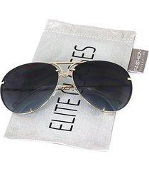 aviator poshe oceanic lens twirl metal design frames sunglasses (gold/black ocea