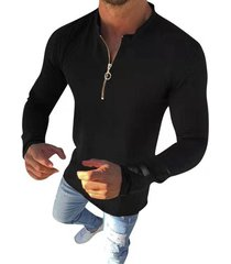 plain o-ring half zipper stand collar casual t shirt