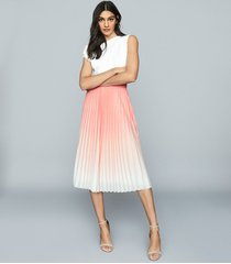 reiss mila - ombre pleated midi skirt in peach, womens, size 14