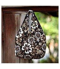 cotton beaded shoulder bag, 'tropical bouquet' (indonesia)
