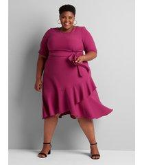 lane bryant women's ruffle hem fit & flare dress 24 dark purple