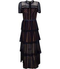 self-portrait fine lace maxi tiered dress
