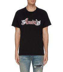 x mötley crüe slogan print t-shirt