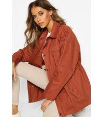 utility pocket synch waist cotton twill jacket, rose