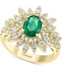 effy emerald (1-1/6 ct.t.w.) & diamond (3/4 ct. t.w.) statement ring in 14k gold
