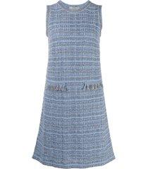 d.exterior tweed shift dress - blue