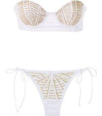 amir slama bandeau bikini set - white