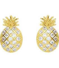 orecchini a lobo ananas in oro giallo e zirconi per donna