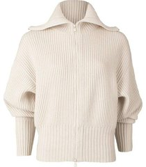 cashmere d-ring ribbed front zip sweater