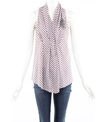 brunello cucinelli red gray striped embroidered beaded top red/gray sz: custom