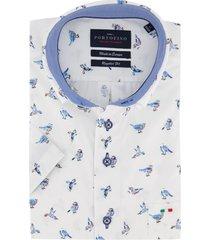 korte mouwen overhemd portofino blauw vogelprint