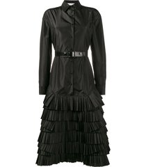 olivier theyskens shirt dress with taffeta skirt - black