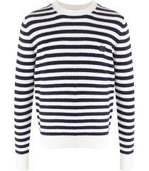 acne studios suéter decote careca com listras - azul