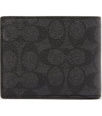 coach men's 3 in 1 signature wallet - charcoal/multi