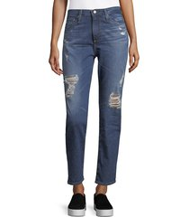 ag jeans women's distressed high-rise jeans - blue - size 23 (00)