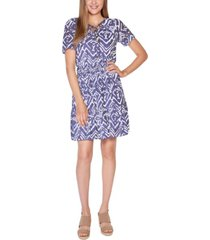 belldini black label petite printed burnout dress with smocked waist and tiered hem