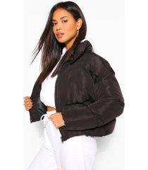 gewatteerde wikkel jas met hoge kraag, zwart