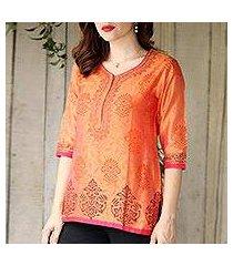 chanderi cotton silk blend tunic, 'tangerine temptress' (india)