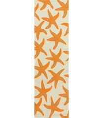 "surya rain rai-1136 bright orange 2'6"" x 8' runner area rug, indoor/outdoor"