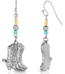 2028 silver-tone and imitation turquoise accent western boots drop earrings