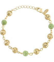 2028 gold-tone green fireball and filigree beaded bracelet