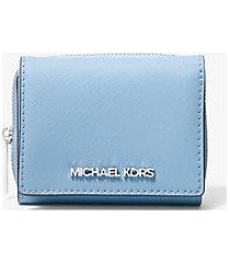 mk portafoglio jetsettravel piccolo in pelle saffiano - celeste chiaro (blu) - michael kors