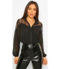 blouse met kant en hoge kraag, black