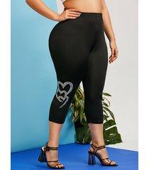 plus size rhinestone heart skinny capri leggings