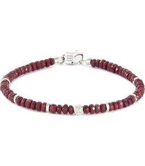 nodo precious' ruby bead silver bracelet