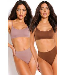 2 pack seamfree scoop bralette, mocha