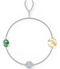 pulsera strand swarovski remix collection wishbone, verde, baño de rodio
