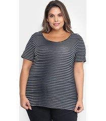blusa cativa listrada plus size feminina