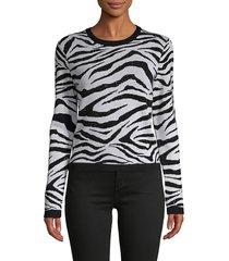 alice + olivia women's zebra-print wool-blend sweater - black white - size xs
