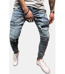 tasche casual skinny elegante con cerniera strappata design jeans per uomo