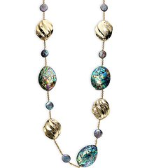 goldplated 17mm freshwater peacock pearl & abalone shell station necklace
