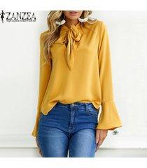 zanzea mujeres de gran tamaño sólido largo de la llamarada del partido holgada manga ata para arriba la pajarita suelta elegante suéter de la manera del ocio de la blusa breve -amarillo