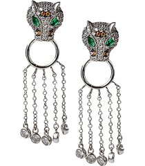 animal trend rhodium-plated & crystal drop earrings