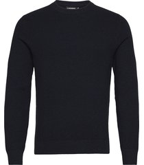 andy structure c-neck sweater stickad tröja m. rund krage blå j. lindeberg