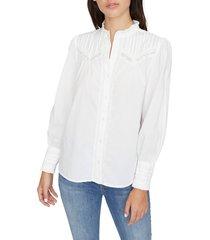 women's sanctuary keepsake heirloom lace trim cotton blouse