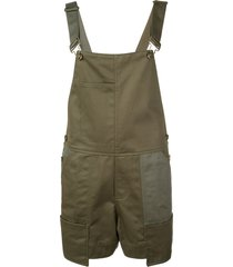 monse buckled strap dungaree shorts - green