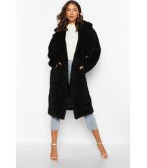 tall faux fur teddy jas, zwart