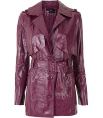 eva leather belt coat - purple