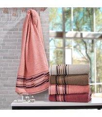 toalha rosto unique toque macio rosa claro - bene casa