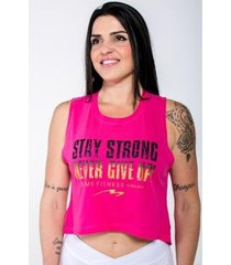 blusa cropped stay strong feminina