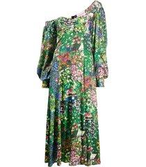 green floral off-shoulder dress