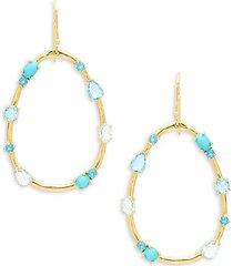 18k yellow gold & multi-stone hoop earrings
